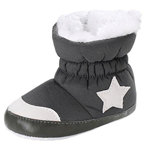 Y-BOA Bottes De Neige Mixte Enfance Fille Garçon Chaussure Chausson Ski Fourrure Hiver Chaude Antidérapant Boots Gris 12cm