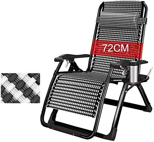 DFVV Tumbonas Tumbonas sillas de Gran tamaño del Patio de Descanso for Heavy Cero Gravedad Silla Plegable Camping al Aire Libre sillas portátiles Tumbona