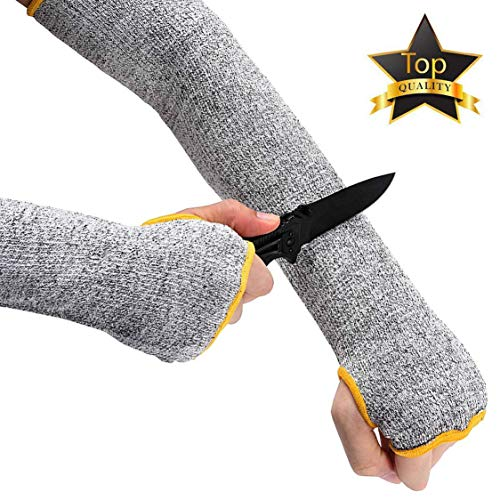 2 Paris Arm Protection Sleeves, Kevlar Cut Resistant Sleeves, Heat Resistant Anti Abrasion Safety Arm Guards for Welding, Garden, Kitchen [Black, 14 inches]
