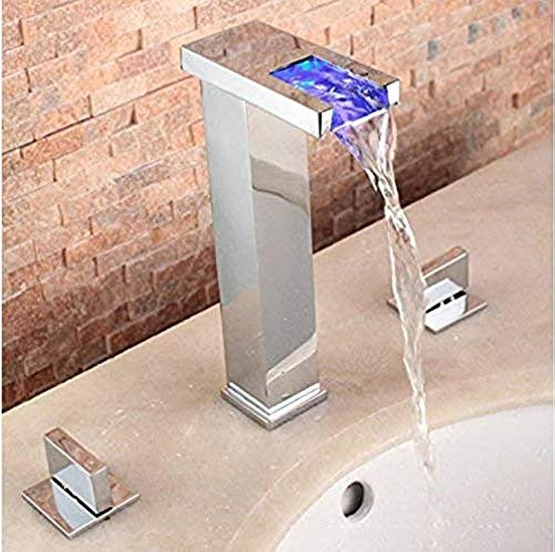 Retro Wasserhahn 360 Grad drehbar Wasserhahn Becken Wasserhahn Led Temperaturregelung Alle Kupfer Becken
