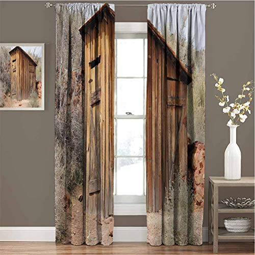 Outhouse Blackout Curtain Set Old Wooden Shed in The Outback Country Side with Olive Trees Kindergarten Shading Insulation W72 x L108 Inch Caramel Brown and Dark Green