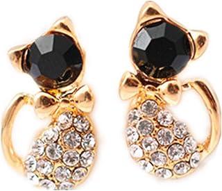 Hithop 1 Pair Fashion Earrings Women Rhinestone Cat Charm Ear Stud Earring Elegant Lady Jewelry Gift