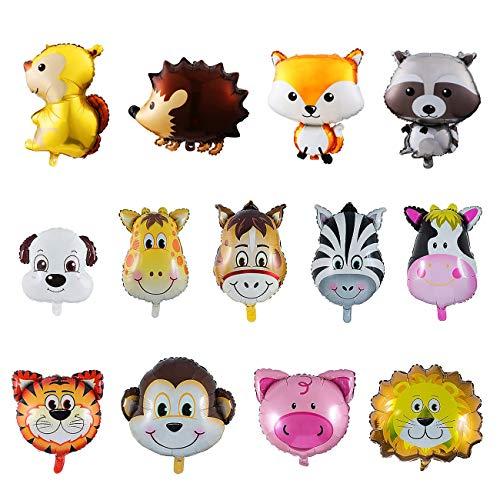 Kesote 13 Globos de Papel de Aluminio para Niños Globos de Helio Animales de la Selva Globos para Niños Decoración de Fiesta de Cumpleaños Regalo