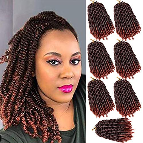 7 packs Spring Twist Hair 8 Inches Short Spring Twist Crochet Hair Bomb Twist Crochet Braids Fluffy Spring Twists Braiding Hair for Butterfly Locs Synthetic Hair Extensions for Women(8',T350)