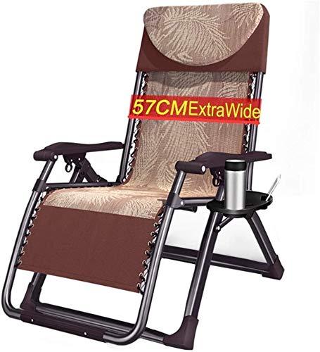 OESFL Silla reclinable Gravedad Cero al Aire Libre con Cup Holder, Extra Ancho reclinable Plegable for Servicio Pesado Personas - 440lbs de Apoyo (Color : Brown)