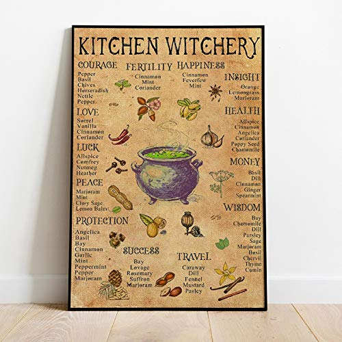 JinYiGlobal Kitchen Witchery Funny Posters and Prints Decoration Canvas Wall Pictures Witches Magic Knowledge Art Painting Home Decor 40x55cm Ungerahmt