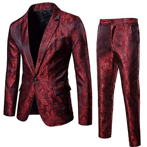 BaZhaHei Uomo Top,2Pcs Set Giacca da Uomo in Blazer Casual o Formale Blazer Moda Uomo Slim Abiti da Uomo d'Affari Abbigliamento Casual Groomsman Due Pezzi Vestito Giacca Pantaloni Set