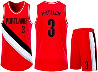 Jersey Set Portland Trail Blazers 3# Errick Mccollum Basketball Jersey Sleeveless Vest Sports Shorts Sweatshirt Men's Fitness Competition Casual Set,Red,2XS