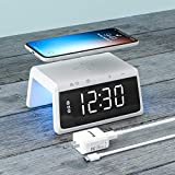 Wireless Charging Alarm Clock for Bedroom, Pointuch Digital Alarm Clock with Snooze Function and Colorful Bedside Night Light, Qi Wireless Charging Clock with a QC3.0 18W USB Charger, White