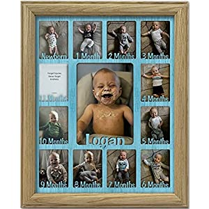 Northland Baby First Year Personalized Frame – Holds Twelve (12) 2.5″ x 3.5″ Newborn Nursery Décor Photos and 5″ x 7″ One Year Picture, Multiple Color Options, Customizable with Any Name – 11×14