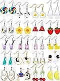 20 Pairs Cute Weird Earrings Funny Dangle Drop Earrings for Women Girls Including Gummy Candy Bear Milk Tea Goldfish Artist Paint Cartoon Strawberry Mushroom Flowers and More (Vivid Style)