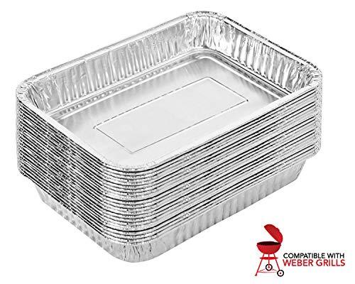 Stock Your Home Aluminium-Auffangschale (25 Stück) – Weber-Aluminium-Abtropfpfpfannen – Weber-Grillpfanne – Weber-Abtropfpfpfannen – Einweg-Ölauffangwanne –...