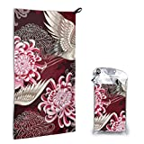 Japanese White Cranes Chrysanthemums Hand Towels Beach Towel Instant Cool Ice Towel Gym Quick Dry Towel Microfibre Towel Cooling Sports Towel 15.7 X 31.5 Inch with 1 Carrying Bag