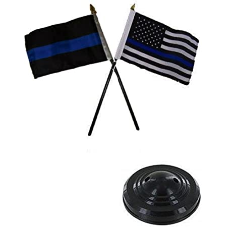 """Solid Navy Blue Color 4/""""x6/"""" Flag Desk Set Table Stick Staff Gold Base"""
