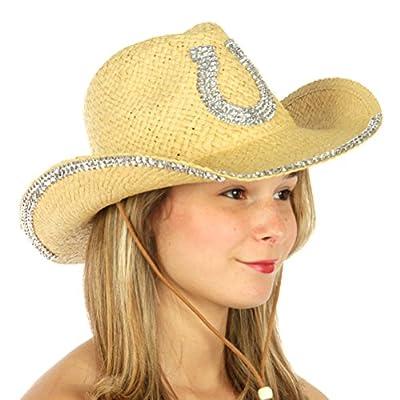 Cowboy Hat for Women, Womens Cow boy Hats, Straw Woman Cowgirl Fedora, Western Cowgirls Large Summer Sun Style, Stripe Light Blue