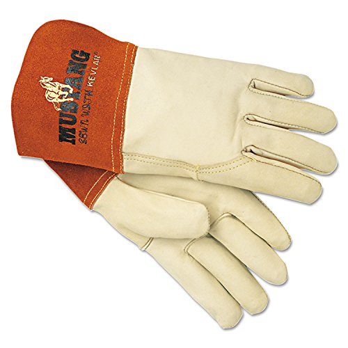 MCR Safety 4950L 24-Piece Mustang MIG/TIG Leather Welding Gloves - Large, White/Russet