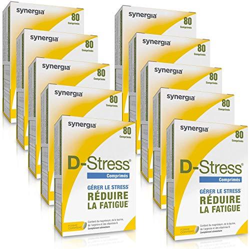 D-Stress Magnésium hautement assimilé, taurine, arginine et vitamines B Origine France Lot de 10