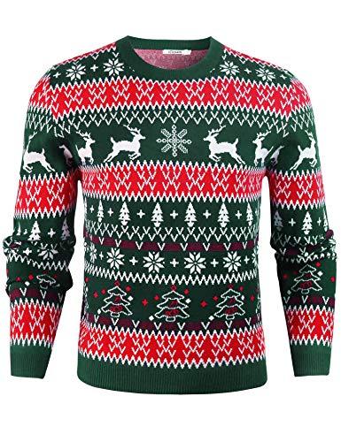 iClosam JerséIs Hombre De Manga Larga Navidad ImpresióN Suelto Ugly Sweater Pullover (Verde-1, L)