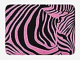 PdGAmats Pink Zebra Bath Mat, Vibrant Background Zebra Skin Artistic Avant Garde Tribal Punk Indie Wild 23.6 W X 15.7W Inches
