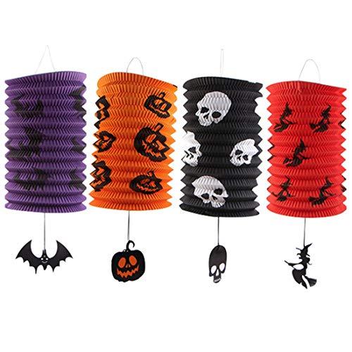 Halloween Papierlaternen, 4 Stück Kürbis-Papierlaterne mit Quasten Faltgurt Papier Laterne für Halloween Partyzubehör Dekorationen (Stil B)