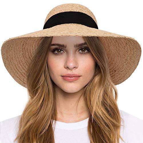 Maylisacc Sombreros de Paja de Rafia Hechos a Mano Mujer Verano, Sombrero Playa de ala Ancha con Cinta Bowknot, Sombrero para el Sol Respirable Proteccion Solar