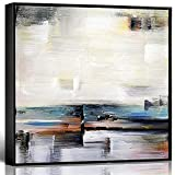 lamplig Blue Abstract Wall Art 100% Fully Hand Painted Oil Paintings Framed Canvas Prints Gray Pictures Artwork Room Wall Home Decor for Bedroom Living Dining Room Office 32x32 Inch