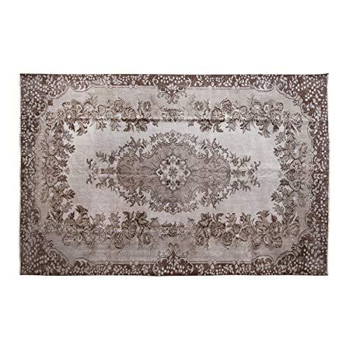 Kozzy Home - Tappeto in cotone, per camera da letto, con frangia tessuta a mano, tappeto con passatoia e linee per soggiorno, lavabile in lavatrice, colore: grigio, 172 x 270 cm