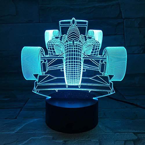 Luz de noche 3D Regalos de Navidad Decoración 3D de coche de carreras Luz de noche LED 7 Cambio de color Luz de noche de noche Decoración de interiores Iluminación El mejor regalo para el día de