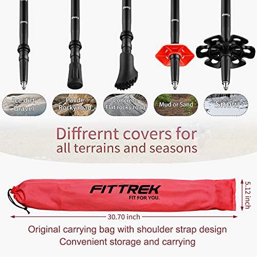 FitTrek Kids Trekking Poles - Hiking Poles - Walking Poles Telescopic - Lightweight Trekking Stick with Walking Poles Rubber Tips and Pole Bag, 1 Pair