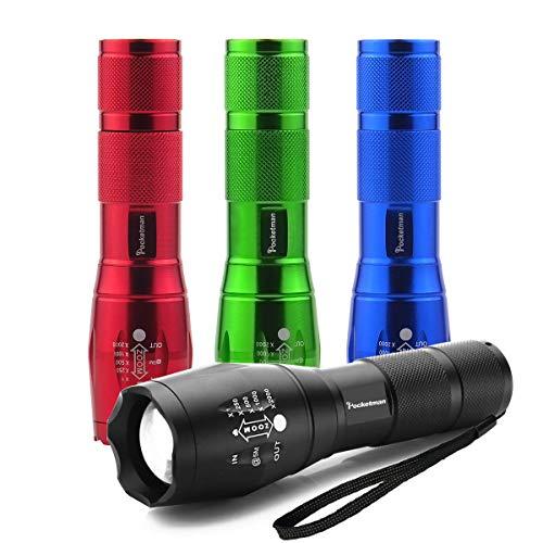 Lampe de poche tactique colorée - Lampe poche Tac Light Torch - Comme à la télé XML T6 - Lampe poche LED la plus brillante avec 5 modes - Lampe de poche étanche ajustable pour le vélo camping