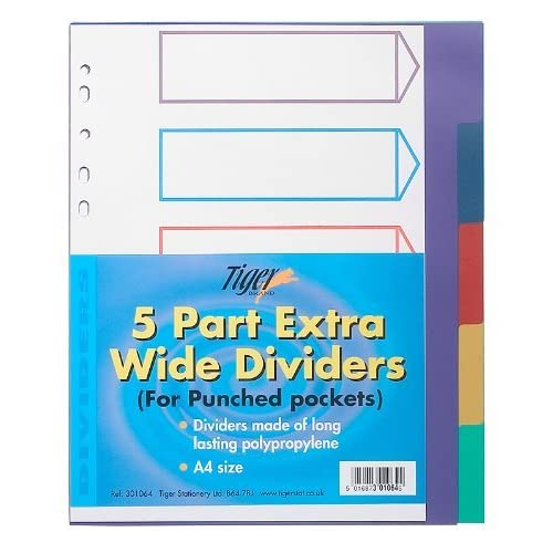 A4 5 Part Colour Coded Strong Filing Subject Tabbed Index Dividers