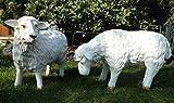 Dekofigur Deko Figur Schaf Lamm stehend 2-er Satz Gartenfiguren aus Kunstharz 55cm & 48cm