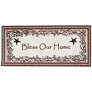 Brumlow Mills Bless Our Home Berry Blossoms Floral Welcome Door Mat for Entryway, Kitchen, or Home Décor Area Rug, 20″ x 44″, Deep Red