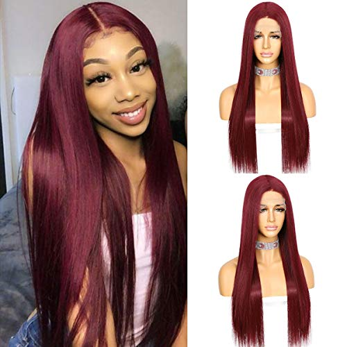 Sapphirewigs Long Straight Hair Burgundy Red Color Kanekalon Futura Hair Deep T-part Lace Wig Glueless Heat Resistant Synthetic Lace Front Wigs for Women 22inch