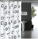 シャワーカーテン 防水 防カビ 加工 浴室 カーテン 風呂カーテン 防水 間仕切り 遮像 リング付属 厚手 取り付け簡単 150×180cm 180×180cm 2デザイン (チェック柄S)