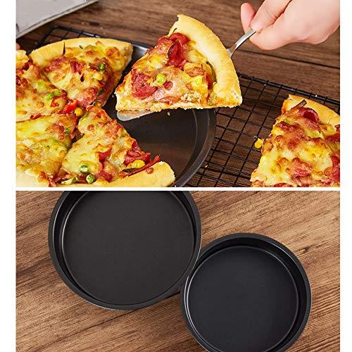 ZRZJBX Backblech Rund,Pizzablech Backblech Rund Aus Blaublech,Ideal Auch FüR Flammkuchen Oder Zwiebelkuchen Zum üBerbacken,6in