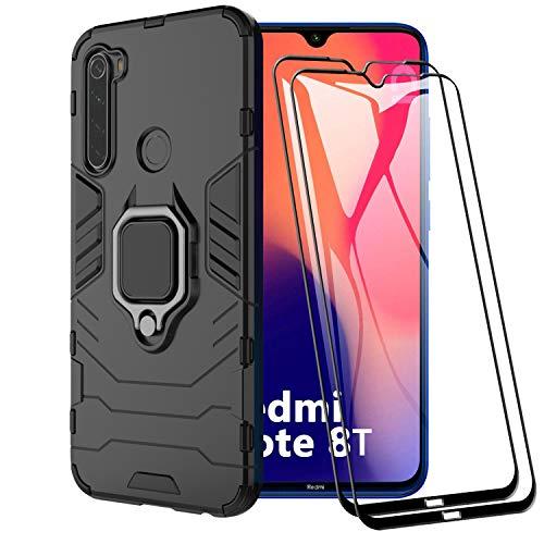 XIFAN Funda para Xiaomi Redmi Note 8T, [Robusto] Anillo Metálico Soporte [Funciona con El Montaje De Coche Magnético] Case Carcasa, Negro + 2 Piezas Protector de Pantalla
