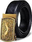 Barry.Wang - Cintura a cricchetto da uomo, in vera pelle con fibbia automatica, set regalo alla moda per uomo Una fibbia di Batman. cintola 30/39