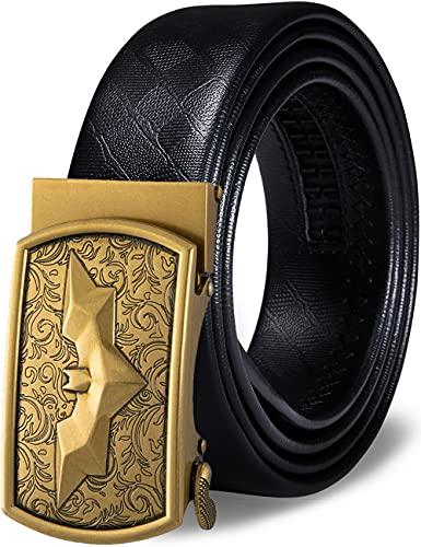 Barry.Wang cinturón de trinquete para hombre, cinturón de cuero genuino con hebilla automática, juego de regalo de moda para hombres Negro Batman Buckle Large