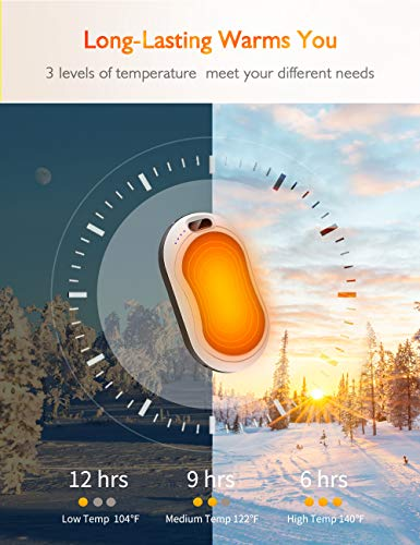 Hand Warmers Rechargeable 10000mAh,Long-Lasting Electronic Power Bank Hand Heater,USB Portable Charger Pocket Double-Sided Heating Warmer for Outdoor Sports,Winter Gifts for Women Men -[New Upgrade]