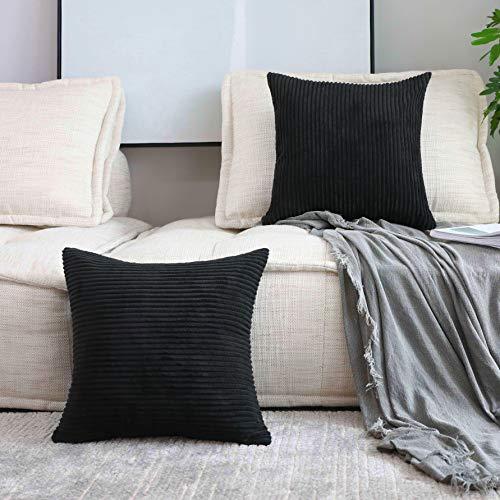 Home Brilliant Decor Striped Corduroy Velvet Square Pillow Cases for Bed Supersoft Decorative Pillowcase, Black, Set of 2, 18 inch, 45x45cm
