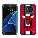 HOOT NBA Chicago Bulls - Licensed Team Color Texture Case with Center Stripe Design for Samsung Galaxy S7 Edge