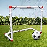 Mini Kids Football Ensemble D'objectifs, Enfants Football Entraînement Sportif Jouet Portable Amovible But De Soccer avec Ballon Et Pompe pour Garçons Filles Intérieur Extérieur,120CM