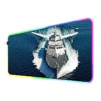 海での軍艦ゲーミングマウスパッドオフィス大型RGBマウスマットキーボードパッドPCLEDゲーマーコンピューターデスクパッド900x400x4mm