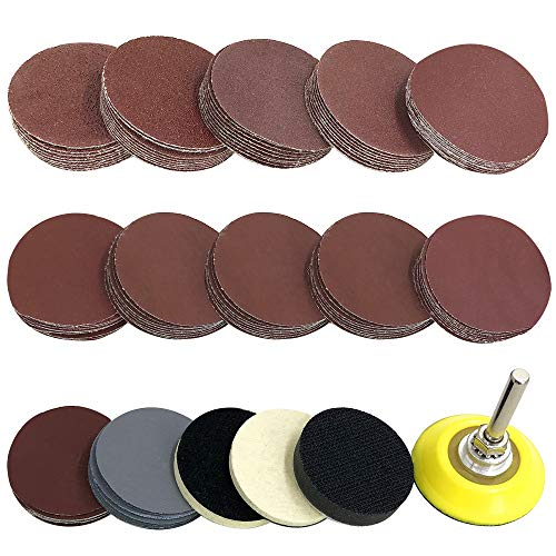 Sanding Discs Pad Kit, YuCool 120 Pcs 2 Inch Sanding Pad with 1pc 1/4'' Shank Backer Plate,2 *Self-Adhesive Wool Pad and Sponge Cushions for Drill Grinder Rotary Tools-Totally 124 Units