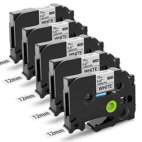 Suminey Kompatibel Schriftband als Ersatz für Brother Ptouch Bänder 12mm TZe-231 TZ-231 Tz Tape Schwarz auf Weiß Laminierte Schriftband für Brother Beschriftungsgerät H105 D400 H107 H100 H101 Cube x 5