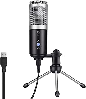 USB Microphone with Sound Card, 3.5mm Voice Monitor, Mute On/Off, Volume Control Switch, Metal Stand, Condenser Recording Microphone for Mac, Windows, Studio Recording, Voice Overs, YouTube (Silver)