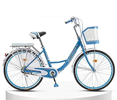 LIXIGB Around The Women's Cruiser Bike with Rear Rack (24-Inch, 26-Inch),Blue Single Speed( Best),26