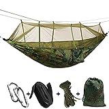 Hamac avec moustiquaire - Pour l'extérieur et le camping - Portable - Tissu parachute - Tente pour deux personnes - 260 x 140 cm - Capacité de charge: 200 kg L camouflage