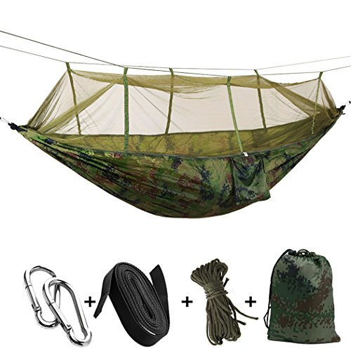 Outdoor Camping Hängematten mit Moskitonetz Tragbare Hängematte Parachute Zelt für zwei Personen 260* 140cm-102* 55in Tragkraft 200kg L camouflage